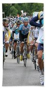 Astana Team With Lance Armstrong Beach Towel by Travel Pics
