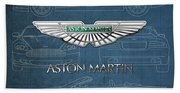 Aston Martin 3 D Badge Over Aston Martin D B 9 Blueprint Beach Towel