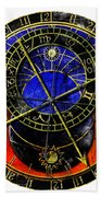 Astronomical Clock In Grunge Style Beach Towel