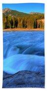 Athabasca Falls In Jasper National Park Beach Towel