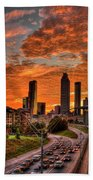 Atlanta Orange Clouds Sunset Capital Of The South Beach Towel