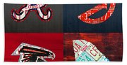 Atlanta Sports Fan Recycled Vintage Georgia License Plate Art Braves Hawks Falcons Plus State Map Beach Towel