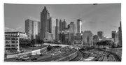 Atlanta Sunset Good Year Blimp Overhead Cityscape Art Beach Towel