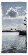 Atlantis - A Three Masts Vessel In Port Mahon Crystaline Water Beach Towel