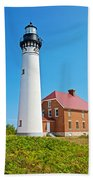 Au Sable Lighthouse In Pictured Rocks National Lakeshore-michigan  Beach Towel