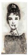 Audrey Hepburn Portrait 01 Beach Towel