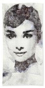 Audrey Hepburn Portrait 02 Beach Towel
