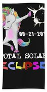 August 21 Solar Total Eclipse Funny Dabbing Unicorn Beach Sheet