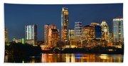 Austin Skyline At Night Color Panorama Texas Beach Towel