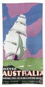 Australia Vintage Travel Poster Restored Beach Towel