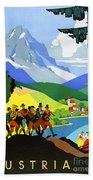 Austria Vintage Travel Poster Beach Sheet