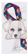 Autism Awareness And Puppy Love Beach Towel