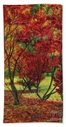 Autum Red Woodlands Painting Beach Towel