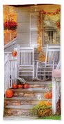 Autumn - House - My Aunts Porch Beach Towel by Mike Savad