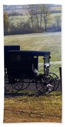 Autumn Amish Horse Buggy Beach Towel