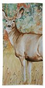 Autumn Beauty- Mule Deer Doe  Beach Towel