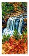 Autumn Blackwater Falls - Paint 3 Beach Towel