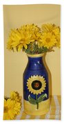 Autumn Blossoms And Blue Vase Beach Towel