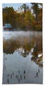 Autumn Boathouse Beach Towel