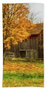 Autumn Catskill Barn Beach Sheet