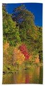 Autumn Color Trees Along Beauty Lake Beach Towel