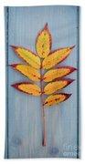 Autumn Colours On Blue Beach Towel