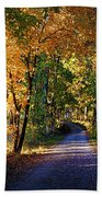 Autumn Country Lane Beach Towel