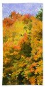 Autumn Country On A Hillside II - Digital Paint Beach Towel