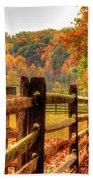 Autumn Fence Posts Scenic Beach Towel