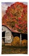 Autumn Hay Barn Beach Towel