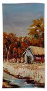 Autumn House By The Stream Beach Towel
