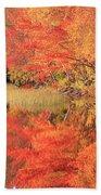 Autumn Lake Scenery Beach Towel