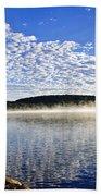 Autumn Lake Shore With Fog Beach Towel