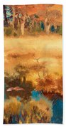 Autumn Landscape With Fox Beach Towel