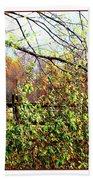 Autumn Leaves Against A Fence Beach Towel