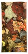 Colorful Autumn Leaves In Blue Green Red Yellow Orange Beach Towel
