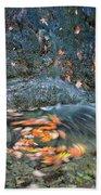 Autumn Leaves In Waterfall Beach Towel