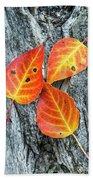 Autumn Leaves On Tree Bark Beach Towel