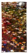 Autumn Leaves Reflections Beach Towel