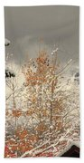 Autumn Leaves Winter Snow Beach Towel