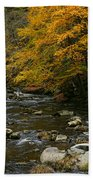 Autumn Mountain Stream Beach Towel