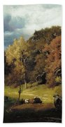 Autumn Oaks , George Inness Beach Towel
