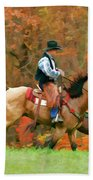 Autumn On Horseback Beach Towel