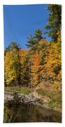 Autumn On The Riverbank - The Changing Forest Beach Towel