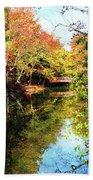 Autumn Park With Bridge Beach Towel