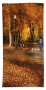 Autumn - People - A Walk In The Park Beach Towel
