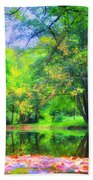 Autumn Pond In Gladwyne Beach Towel by Bill Cannon
