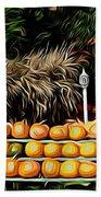 Autumn Pumpkins And Cornstalks Graphic Effect Beach Towel