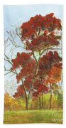 Autumn Red Beach Towel