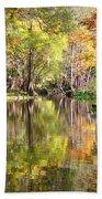 Autumn Reflection On Florida River Beach Sheet